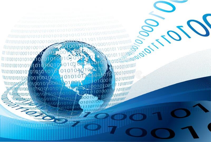 Globe bleu et code binaire illustration stock