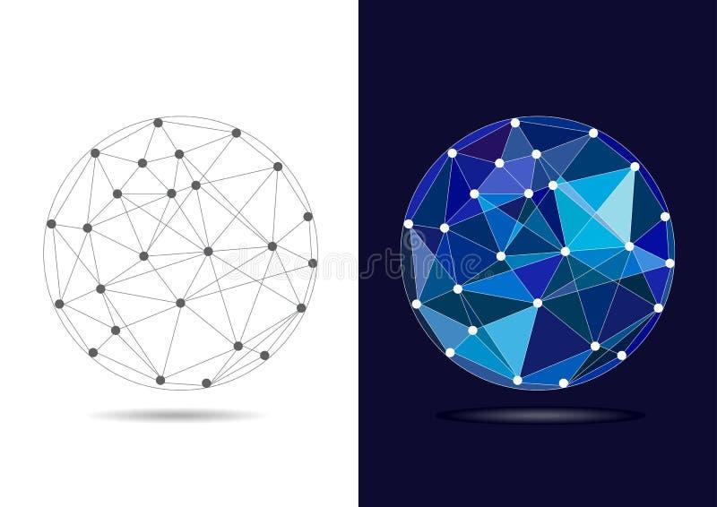 Globe bleu relié par résumé - illustration de vecteur illustration stock