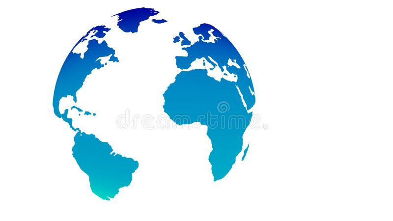 Vector 3d globe blue world map on white background vector illustration