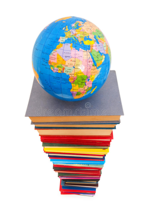 Globe And Books Isolated Stock Images