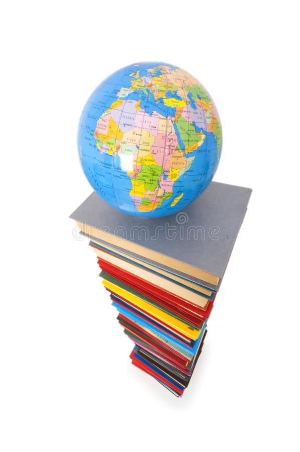 Globe and books isolated
