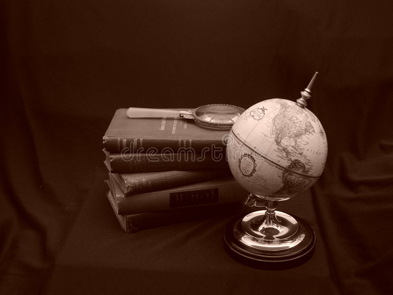 Download Globe with Books Sepia stock photo. Image of antique, globe - 1200090