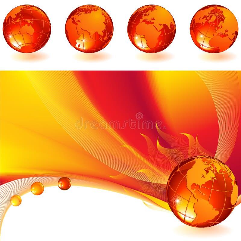 globe brûlant illustration stock