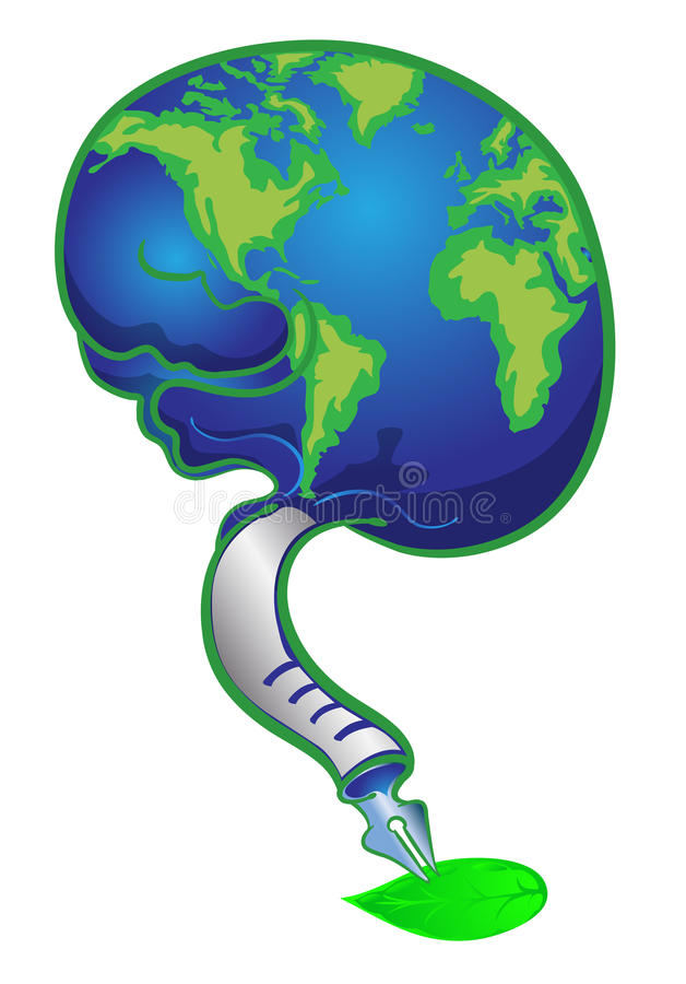 Globe in brain writing on green leave vector illustration