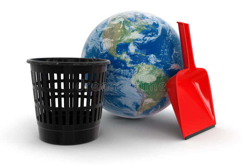Globe, Bucket And Dustpan (clipping Path Included) Stock Photos