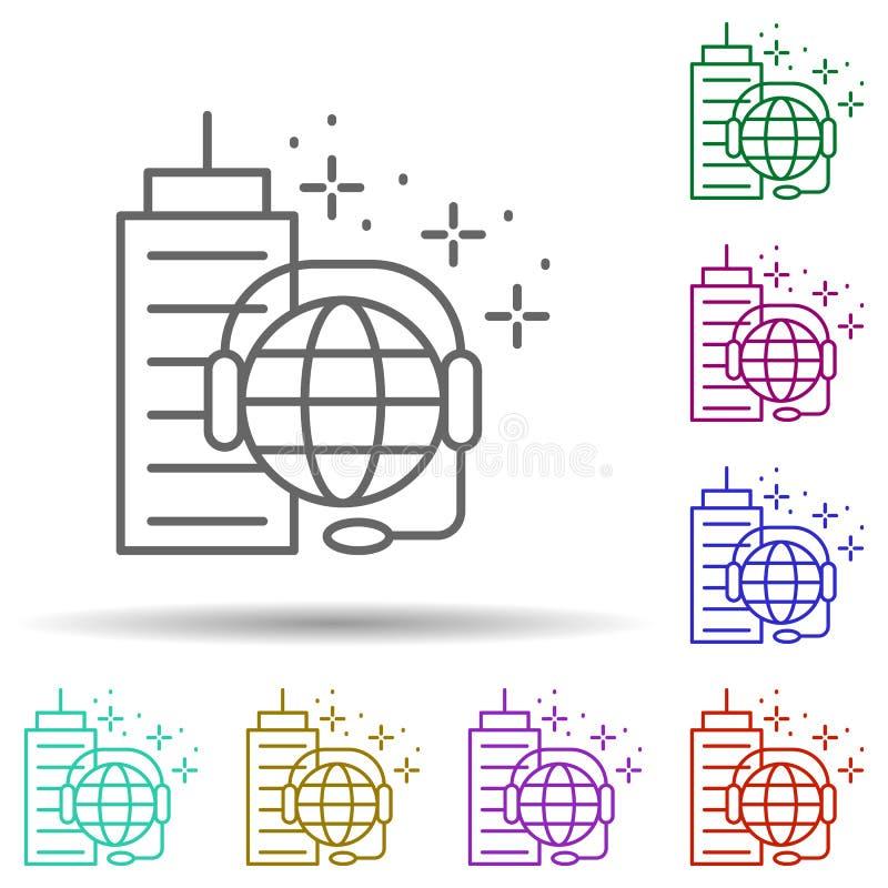 Globe Building Kopfhörer Mehrfarbensymbol Einfache dünne Linie, Konturvektor für Management-Icons für i und ux, Website oder mobi stock abbildung