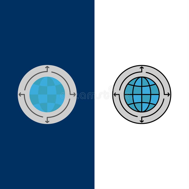 Globe, Business, Communication, Connection, Global, World  Icons. Flat and Line Filled Icon Set Vector Blue Background royalty free illustration