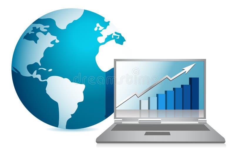 Globe and business laptop illustration design. Over white background royalty free illustration