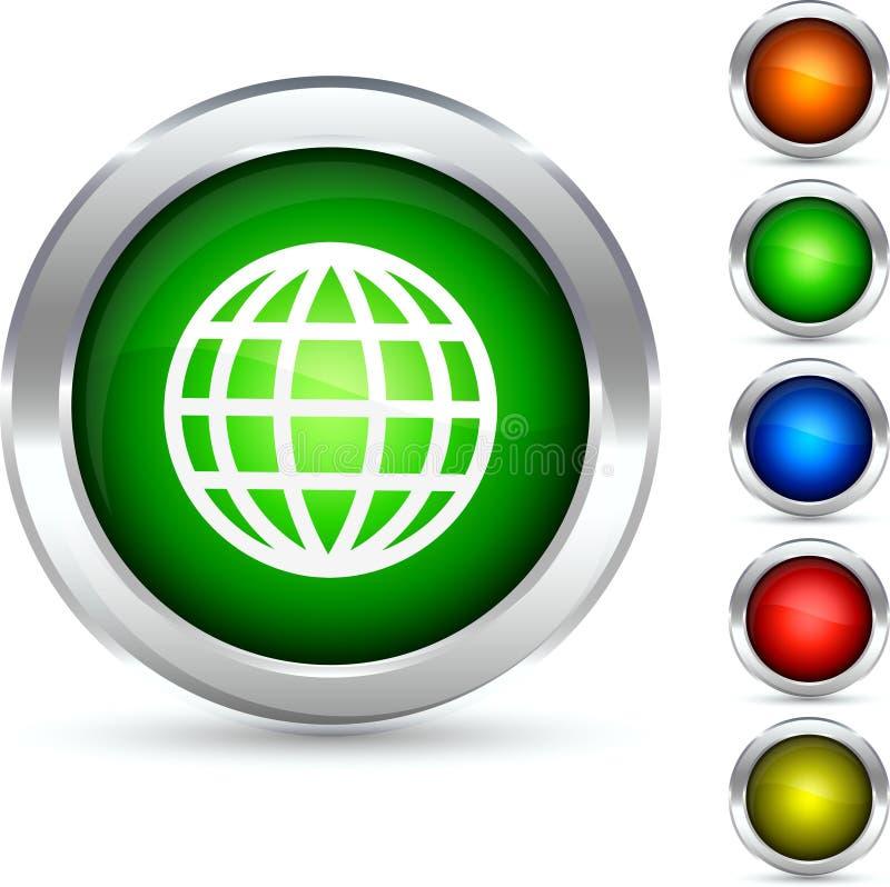 Globe button. vector illustration