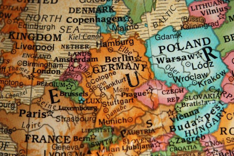 Globe - carte de l'Europe Centrale photographie stock