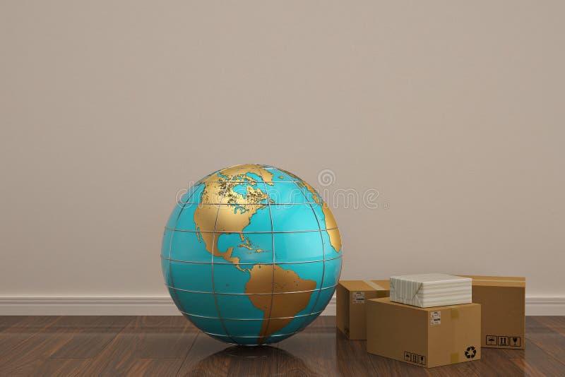 Globe and carton on wooden floor 3D illustration. stock illustration
