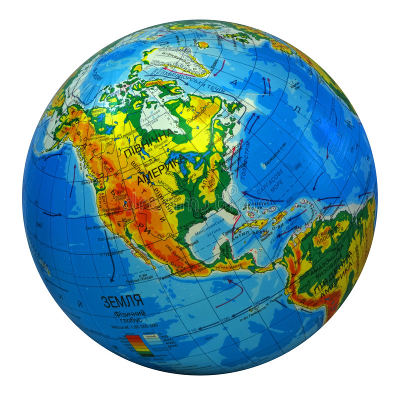 Globe, in center north America royalty free illustration