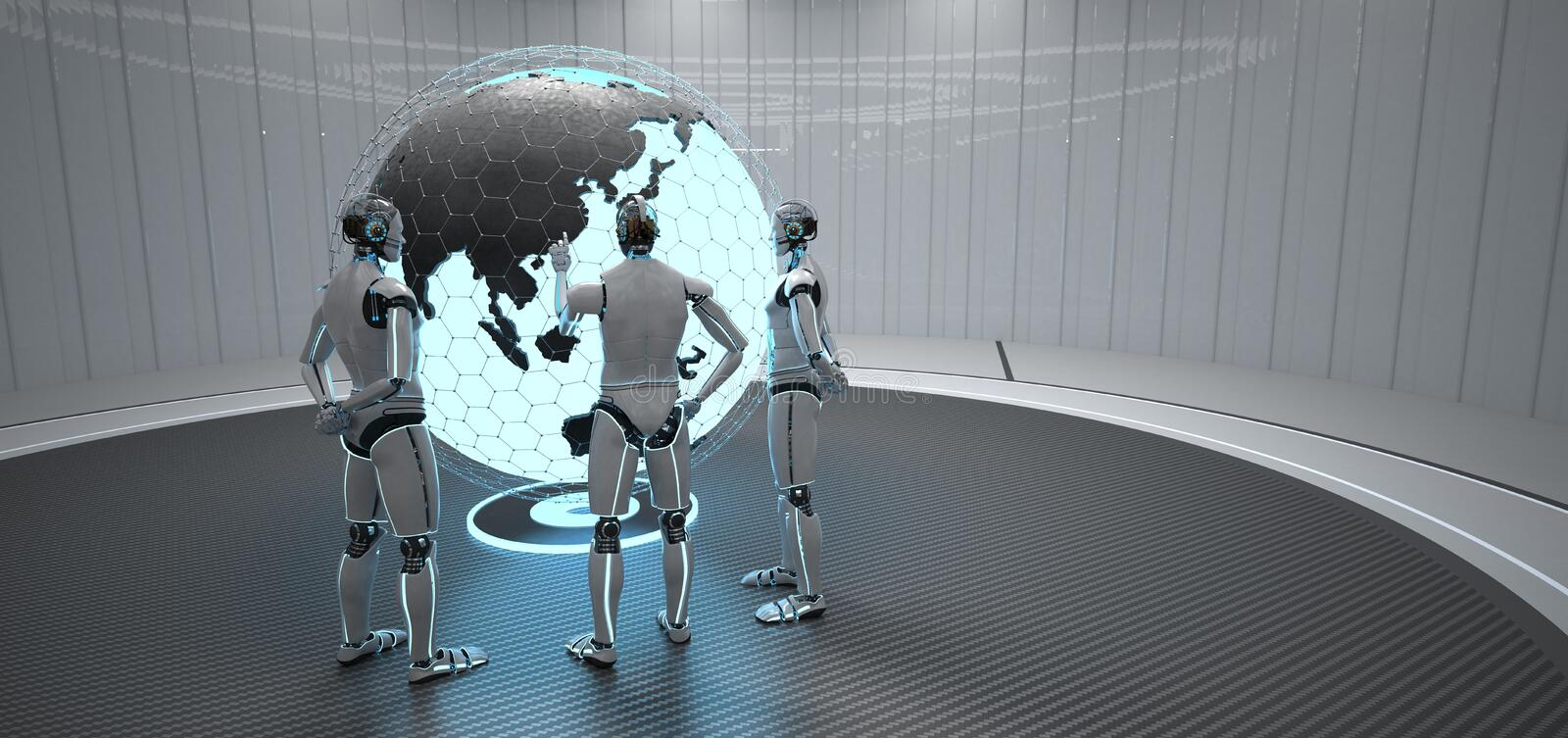 Globe Chine de 3 robots illustration de vecteur