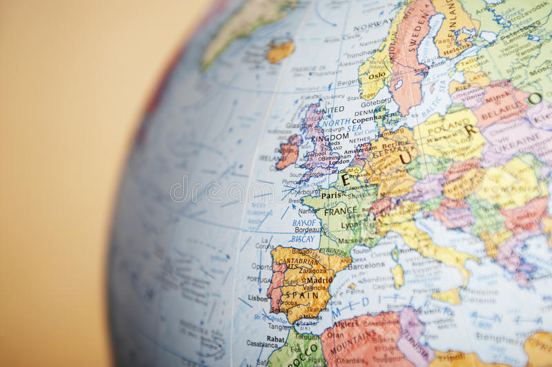 Globe close-up on Europe stock photography