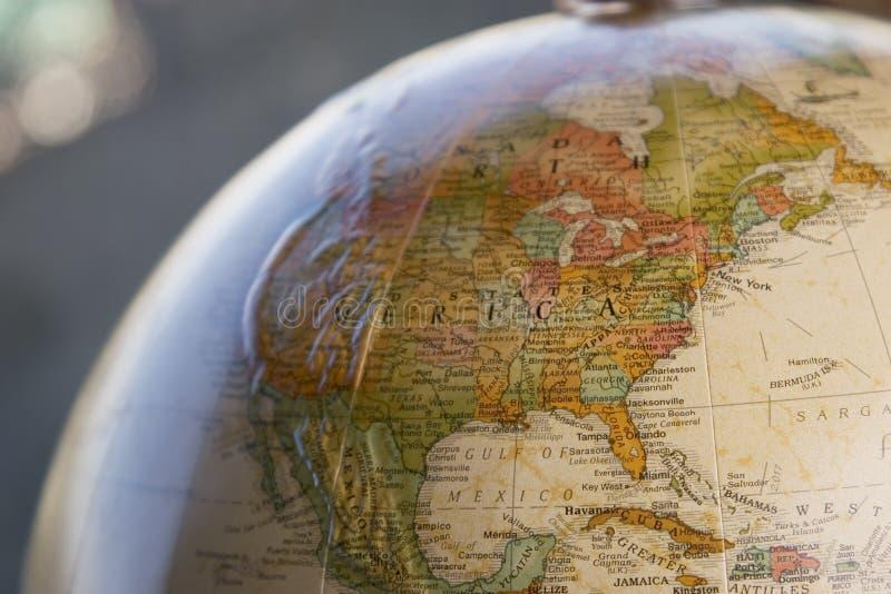 Globe close-up of USA stock photos