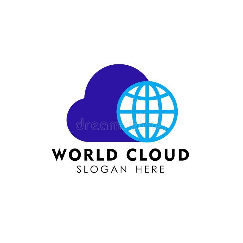 Globe cloud logo design template. cloud tech logo design vector. Icon stock illustration