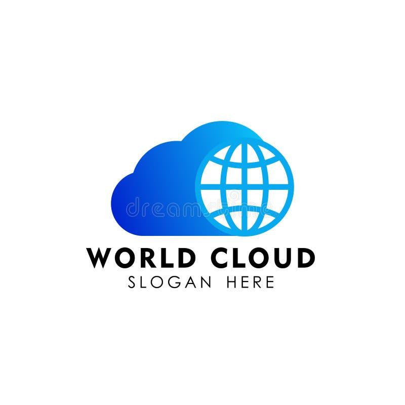 Globe cloud logo design template. cloud tech logo design vector. Icon royalty free illustration