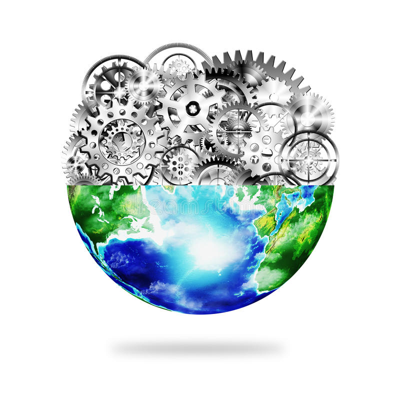 Globe with cogs and gears
