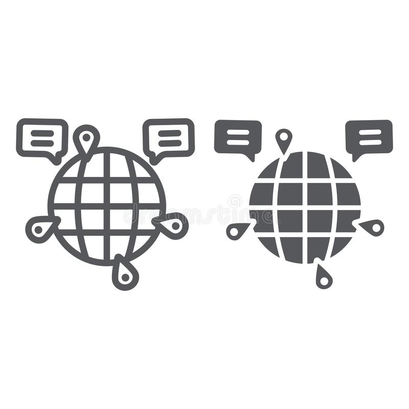 Globe communication line and glyph icon, internet and connection, global chat sign, vector graphics, a linear pattern on. A white background, eps 10 royalty free illustration
