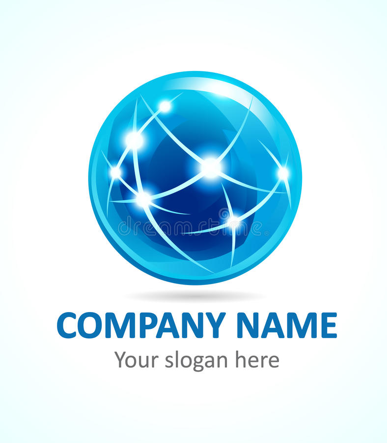 Globe company logo. Globe company logo of connecting. Sign for Internet technologies, global missions, flying, communications and other businesses. Stained stock illustration
