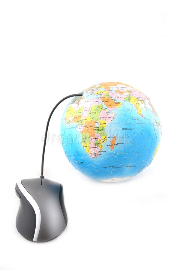 Globe and Computer Mouse stock photos