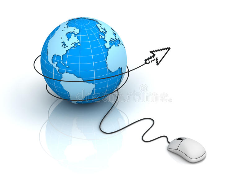 Download Globe With Computer Mouse Cursor Stock Illustration - Image: 21584023