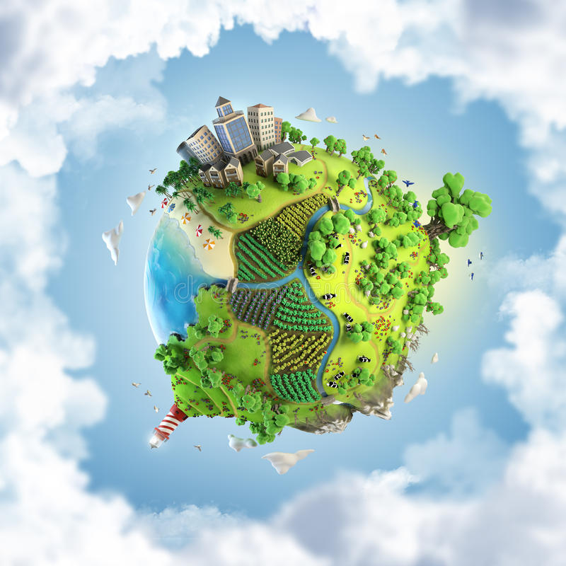 Globe concept of idyllic green world. Globe concept showing a green, peaceful and idyllic life style in the world in a cartoony style stock illustration