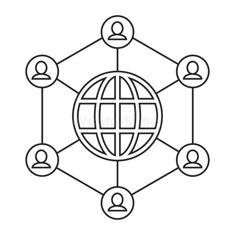 Globe connected community communication thin line stock illustration