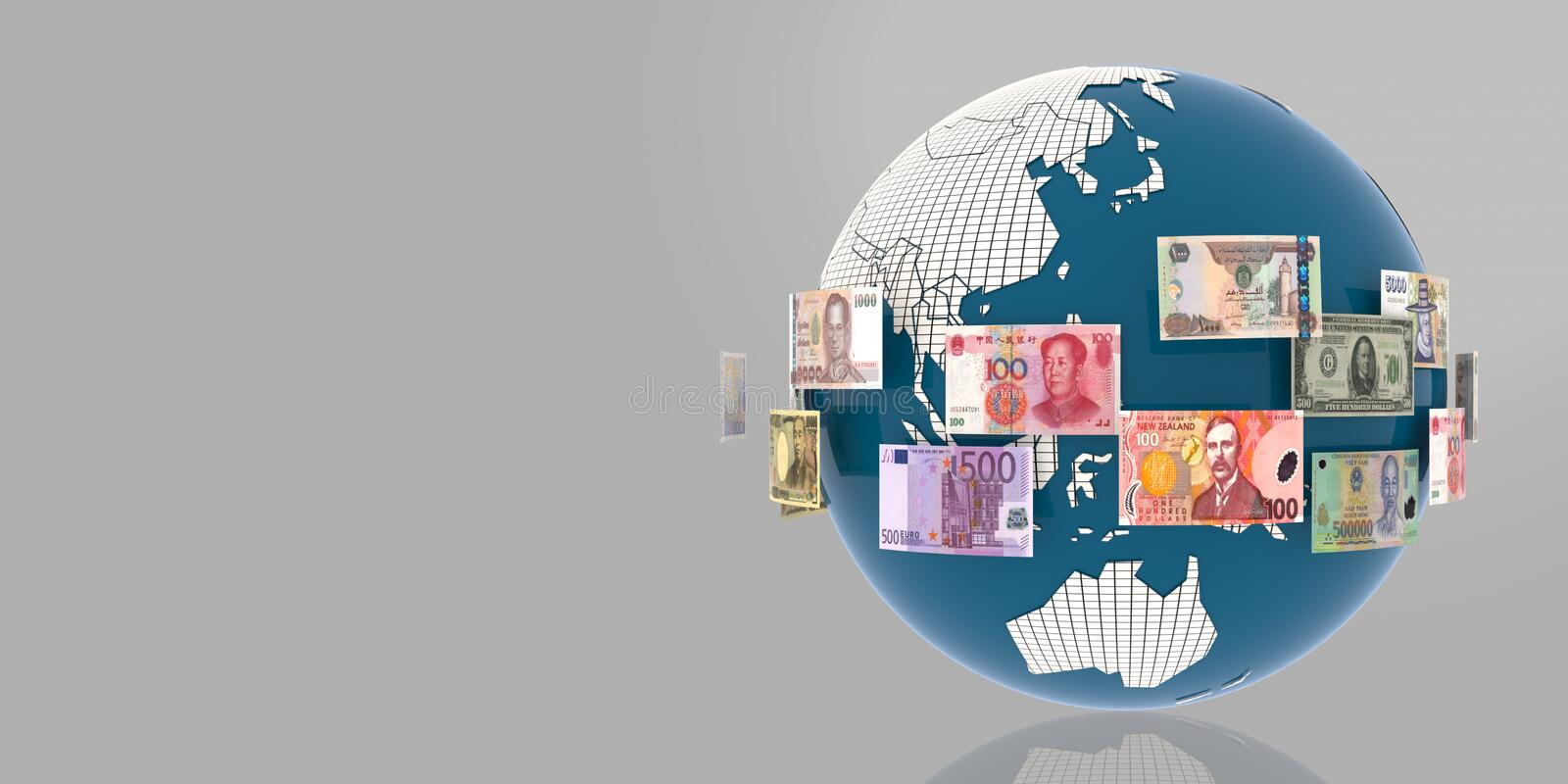 Globe with Countries Flags & Currencies banknote. Banknotes revolving around the world, Globe with Countries Flags & Currencies banknote. 3D simulating the vector illustration