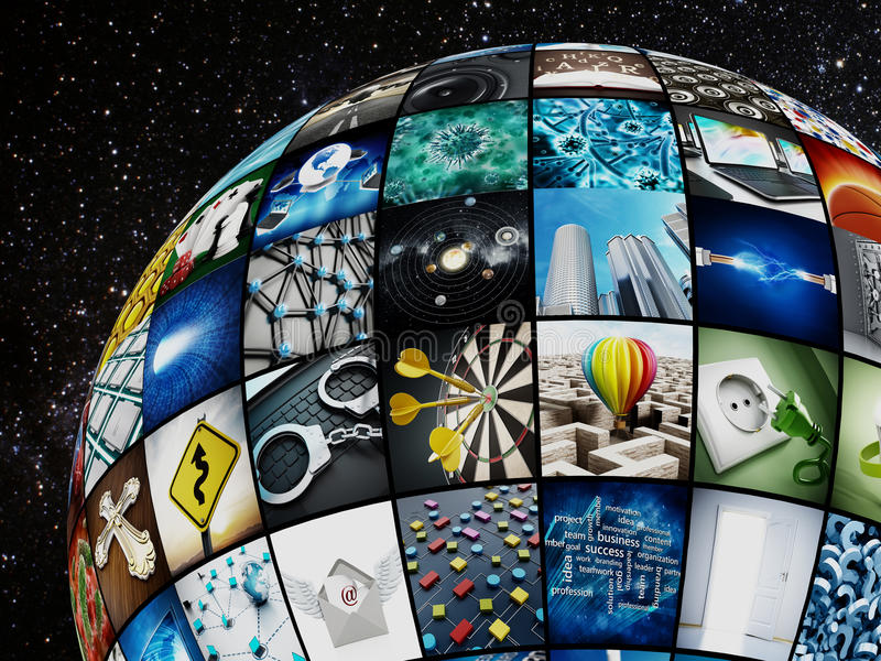 Globe covered with TV screens. Images are from my own portfolio royalty free illustration