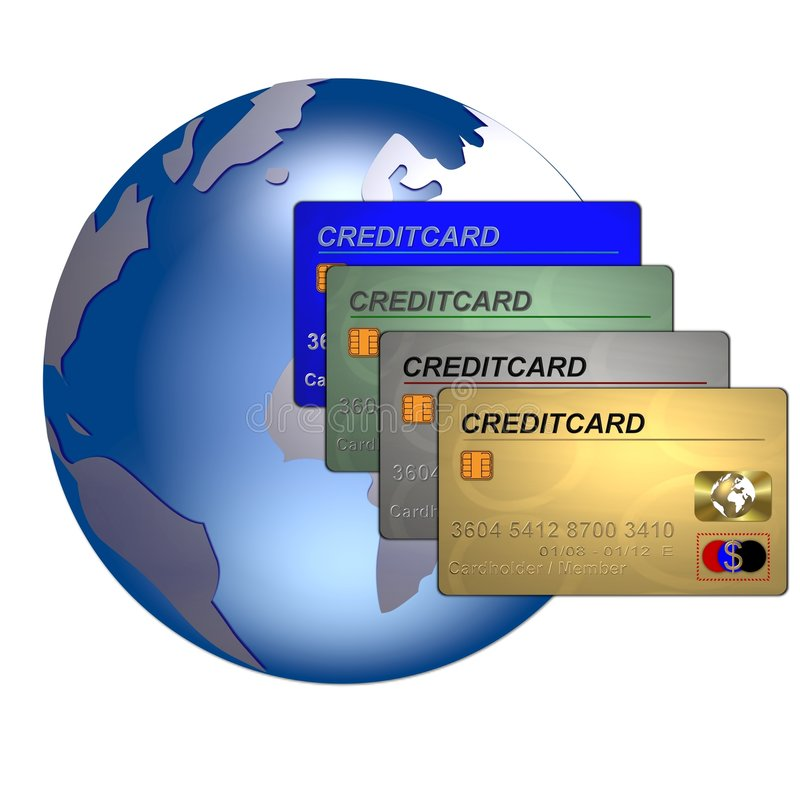 Globe and credit cards royalty free illustration