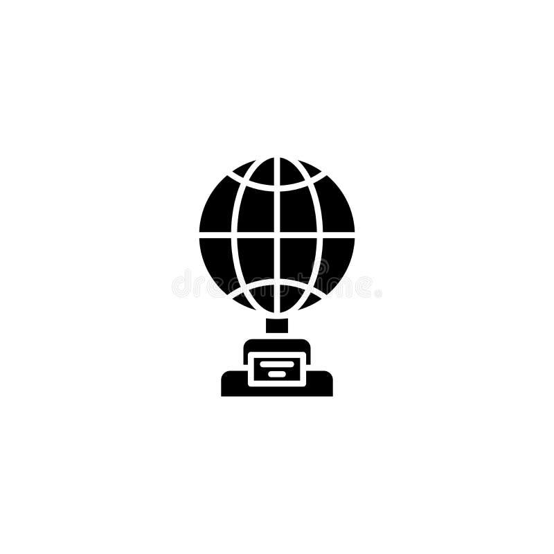Globe cup black icon concept. Globe cup flat vector symbol, sign, illustration. vector illustration