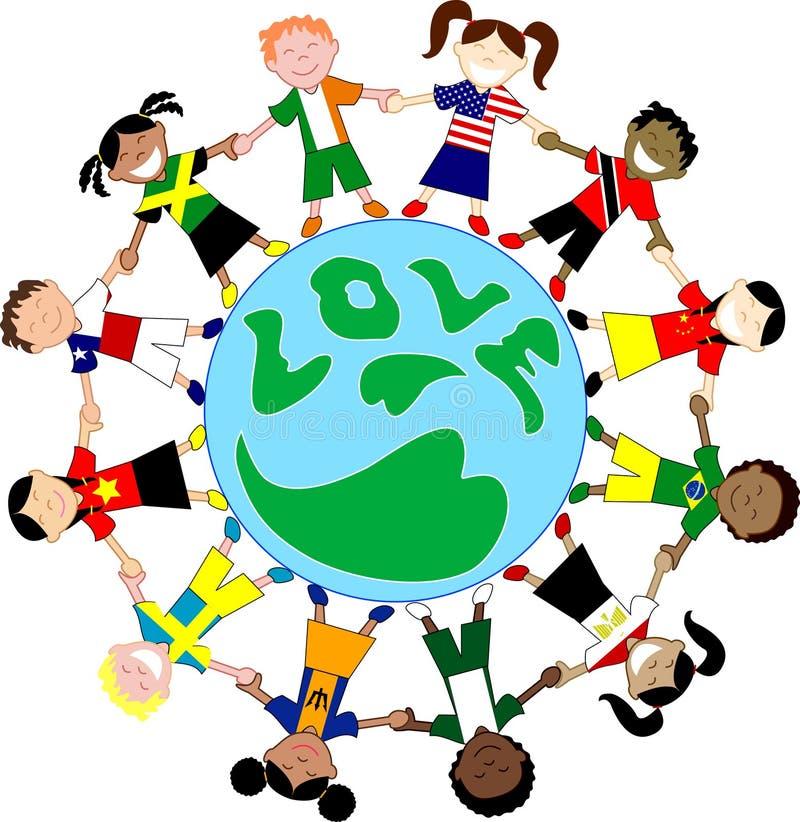 Globe d'amour de chemises d'indicateur de gosses illustration libre de droits