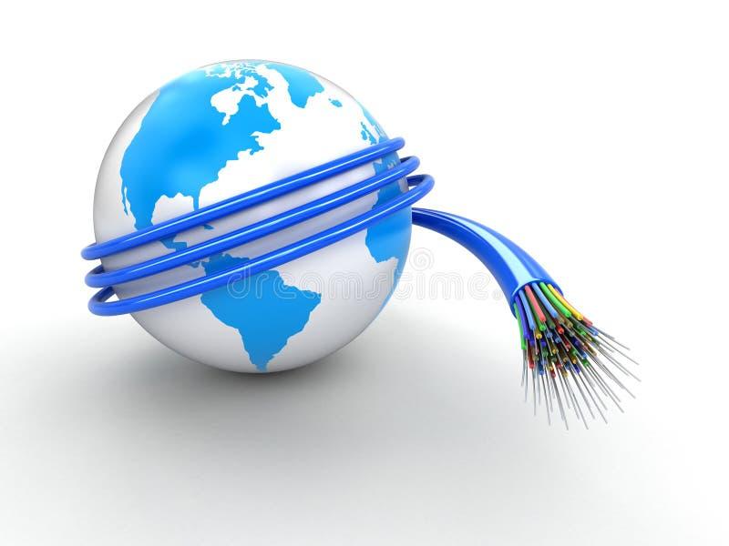 globe 3d avec le câble optique de fibre illustration libre de droits