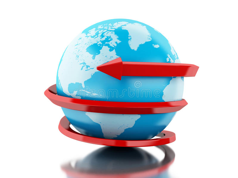 globe 3d avec le cercle rouge de flèche autour illustration libre de droits