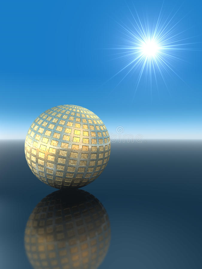 Globe d'or avec le réseau illustration stock