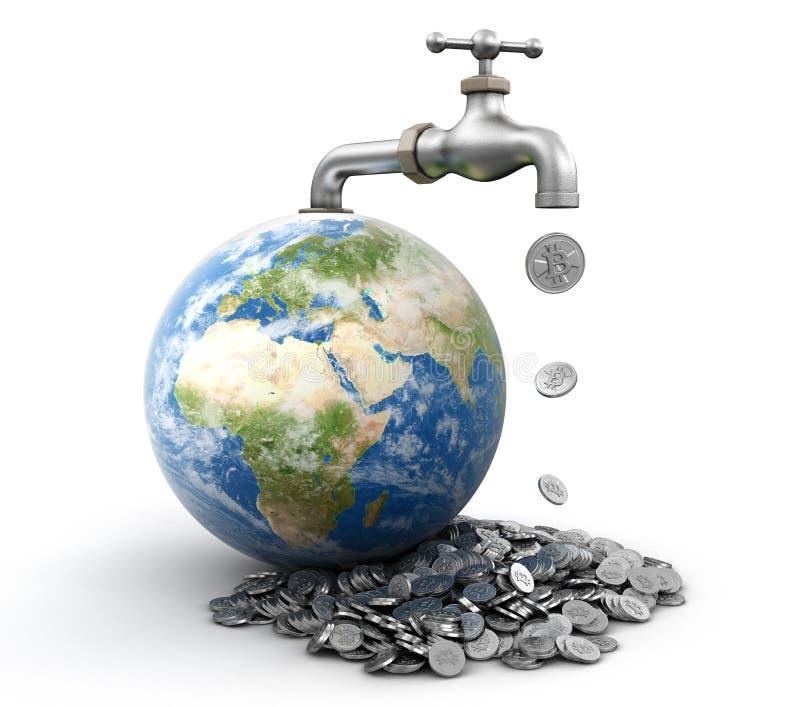 globe 3d avec le robinet d'eau avec la tasse Image avec le globe et le robinet de la coupure path3d avec le bitcoin argenté Image illustration stock