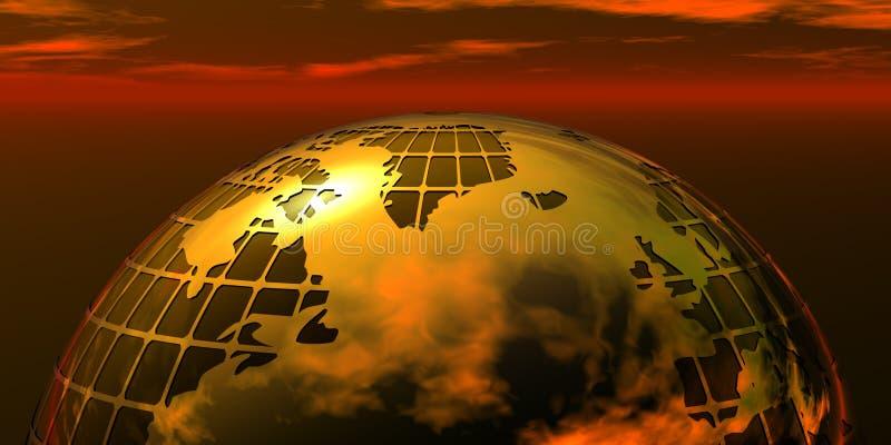 Globe d'or d'affaires sur le coucher du soleil illustration stock