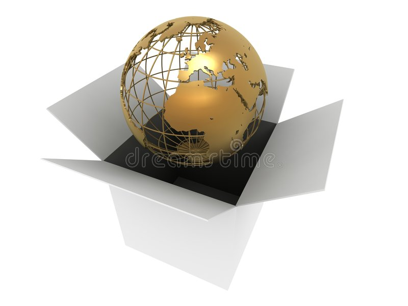 Globe d'or dans un cadre illustration de vecteur