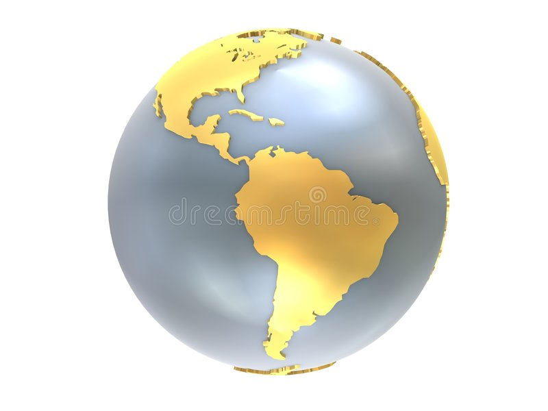 Globe d'or et argenté illustration de vecteur