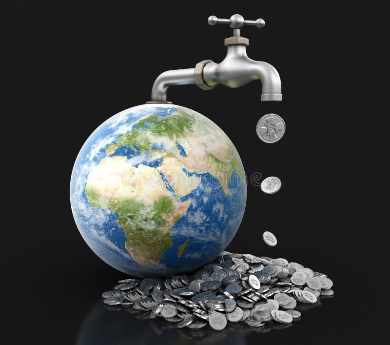 globe 3d et robinet avec le bitcoin argenté Image avec le chemin de coupure illustration de vecteur