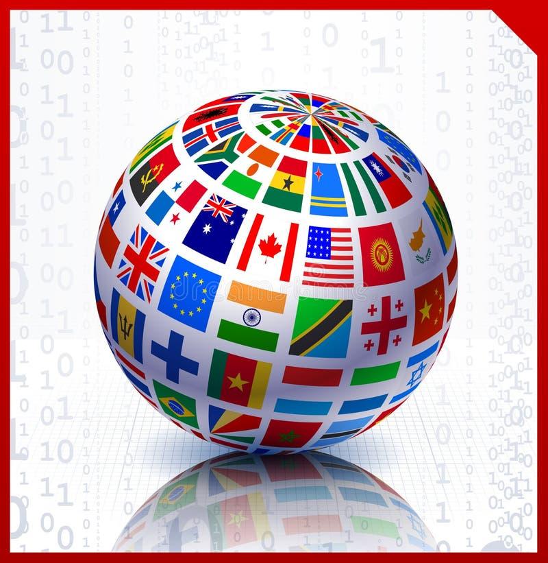Globe d'indicateurs sur le fond de code binaire illustration de vecteur