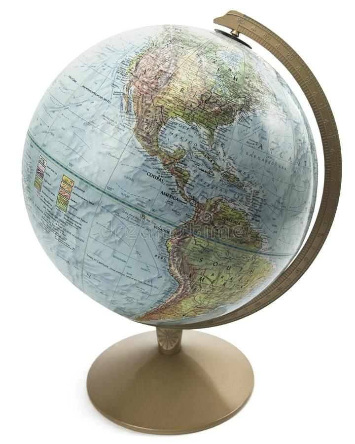 Globe d'isolement du monde avec le support image stock