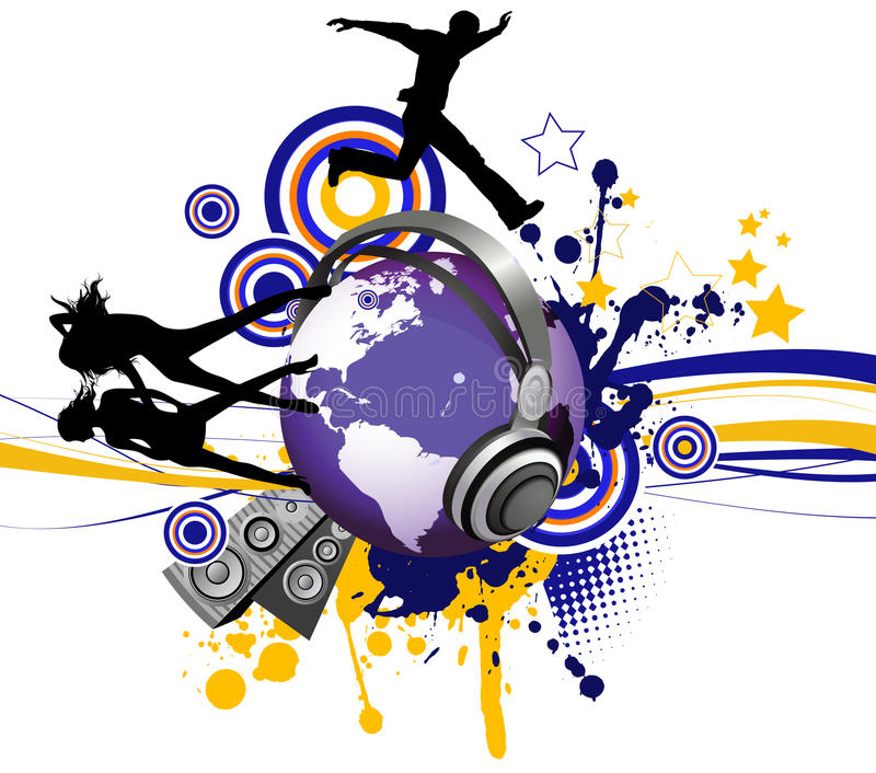 Globe with dancing youth men and women. royalty free illustration