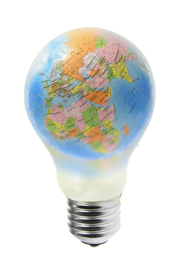 Globe dans l'ampoule de tungstène image stock