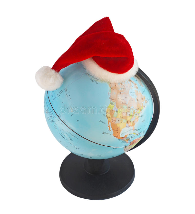 Globe dans le chapeau de Santa photo stock