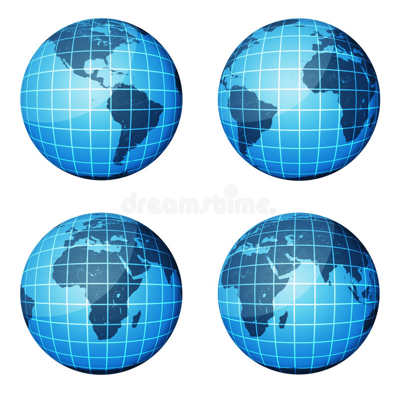 Globe. Dark Blue Continents And Blue Ocean Stock Images