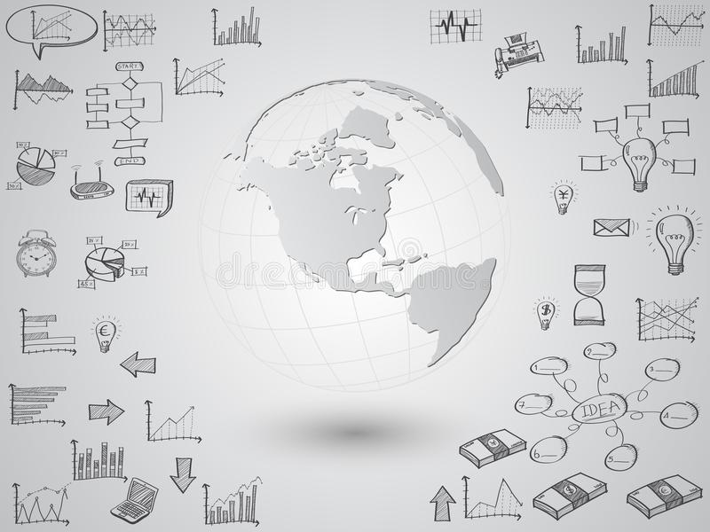 Globe de carte du monde avec des icônes de Web, des icônes d'affaires et des icônes de technologie pour la technologie et le conc illustration de vecteur