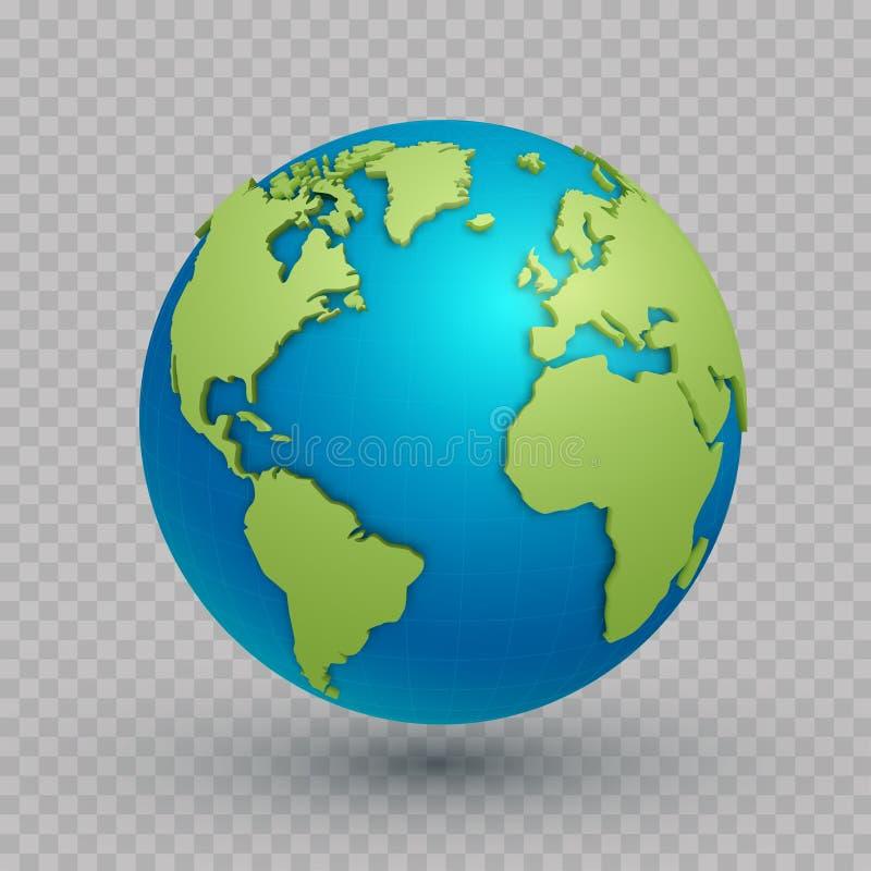 globe de carte du monde 3d illustration de vecteur
