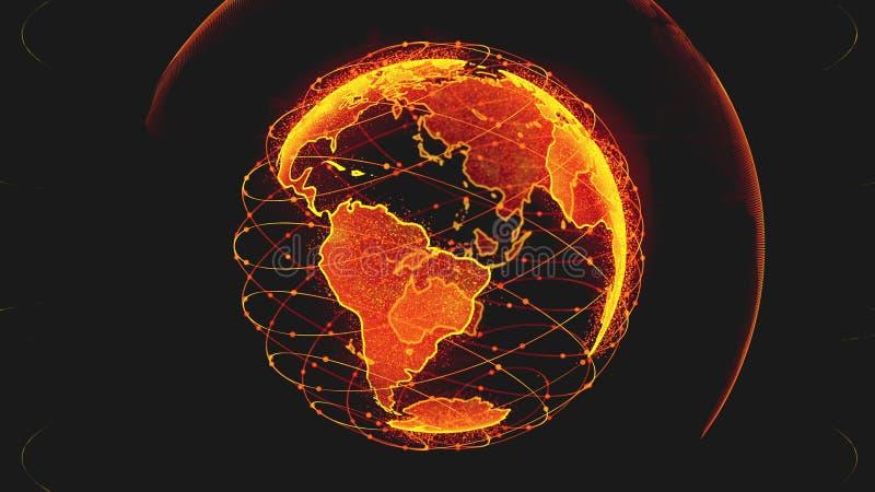 Globe de donn?es de la terre de Digital - r?sum? 3D rendant le r?seau de satellites autour du monde un lien scientifique d'?toile illustration stock